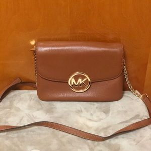 MICHAEL KORS Chain Wallet - Brown Leather